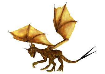 3D Rendering Golden Dragon on White