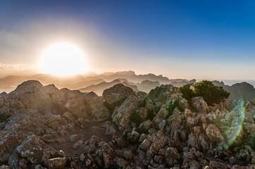 Sonnenuntergang in den Bergen von Mallorca, Cap Formentor