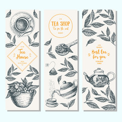 Tea shop banner set. Vertical banner collection for tea design. Linear graphic. Vector illustration.