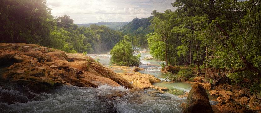 Beautiful panoramic view of the waterfalls