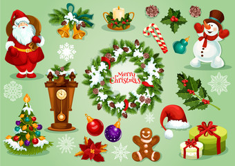 Christmas and New Year icon set for festive design