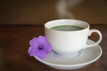 Hot green tea matcha