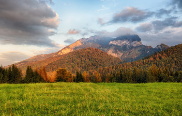 Wall Mural - Majestic sunset in mountains landscape, Carpathian, Slovakia