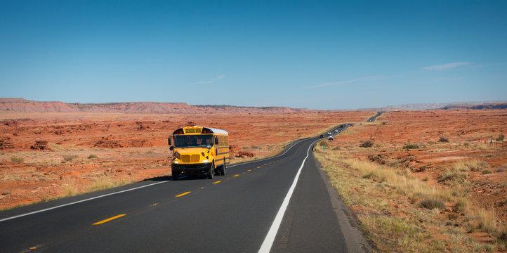 Shool bus on Highway 89