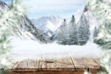 wooden desk and snow space