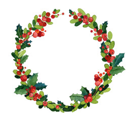 Watercolor Christmas greeting card template. Holly wreath