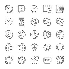 time thin line icons