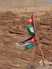 Drapeau jordanien dans le vent
