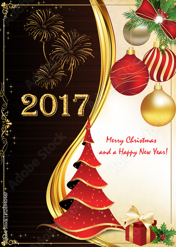 greeting card for christmas and new year . print colors used, Greeting card