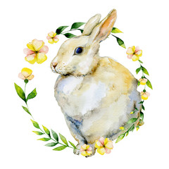 Watercolor rabbit with yellow flower and herbs wreath. May be used for Easter textile decoration print, greeting card, child wear decor.