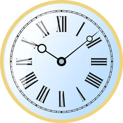 Elegant roman numeral blue clock with large digits on white background.