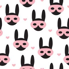 seamless rabbit bunny in mask pattern vector illustration