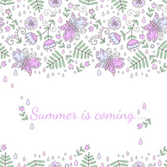 Abstract flower pattern with leaves. Summer is coming.