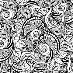 black and white seamless pattern in a zentangle style, Hand-drawn design illustration