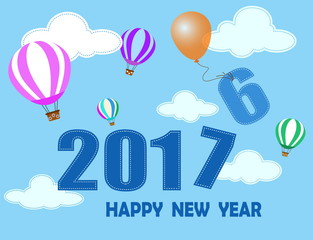 happy new year  with balloon and cloud