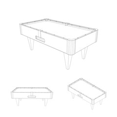 Empty billiard table set.Isolated on white.Vector outline illust