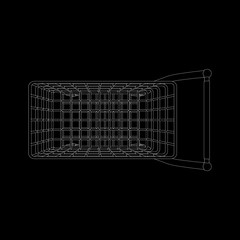 Empty shopping cart. Top view. Vector outline illustration.