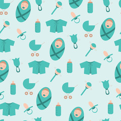 Seamless pattern with things for newborn baby boy in blue tones. Baby bottle, nipple, rattle, pram, baby's loose jacket, baby. EPS10 vector illustration