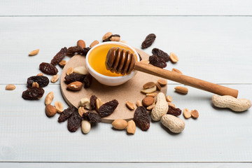 Honey with different types of nuts