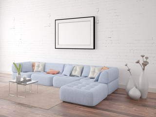 Mock up poster frame with a comfortable sofa on the brick wall background.