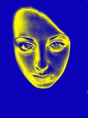female face of ukrainian girl in gradient