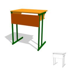 School desk.Isolated on white. 3d Vector illustration.