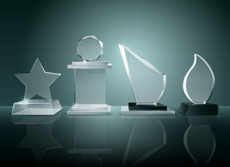 Glass Trophies Background Reflection Realistic Image