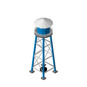 Water tower.Isolated on white background. Isometric view.