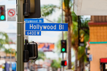 Hollywood Boulevard Road Sign in Hollywood, Los Angeles, California, USA.