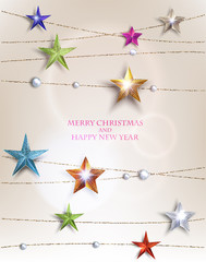 Christmas background with textured sparkling colorful stars with gold strings