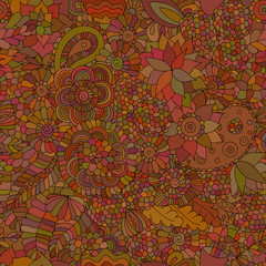 Doodle seamless background oriental brown