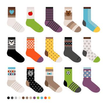 Childrens socks. Vector long sock icon set on white background