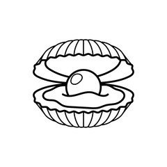 Black pearl in shell line gift icon. Vector illustration