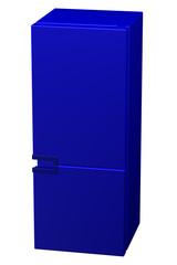 Blue refrigerator. 3D rendering.