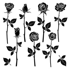 Rose silhouettes, spring buds vector symbols