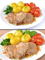 mięso duszone z ziemniakami i pomidorem