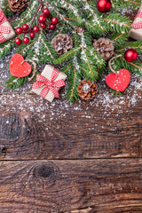 Christmas decoration on wooden background with copy space