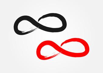 Symbol of Infinity. Ragged brush, grunge. Black and red.