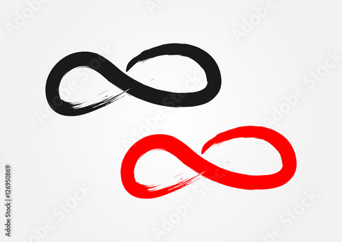 Symbol Of Infinity Ragged Brush Grunge Black And Red Stock