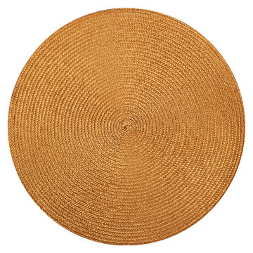 Round woven straw mat isolated on white background