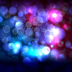 Blue end pink abstract background with bokeh defocused lights.