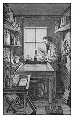 Developing in darkroom, engraving XIX century
