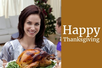 Woman with Turkey and Thanksgiving Message Design