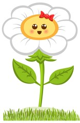 Cartoon Smiling Champmille, Happy Daisy Isolated On White. Vector Illustration