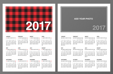 "Two 2017 Calendar Templates: Lumberjack patterned frame and ""Add your own photo"". Week starts on Sunday. Red black buffalo check plaid pattern swatch is included. Printable Letter size pages 8.5""x11""."