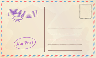 Travel postcard vector in air mail style with paper texture and