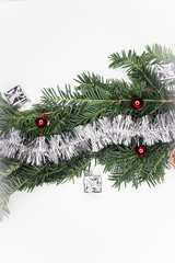 Christmas Decoration Over Wooden Background. Decorations over Wood. Vintage