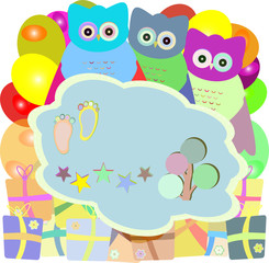 cute owl holiday card with gift boxes - baby boy arrival announcement