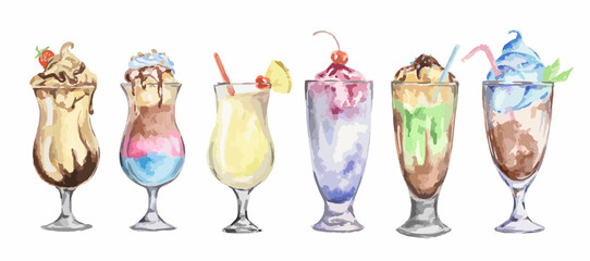 watercolor cocktails set. Isolated glasses with milkshakes drinks on white background.