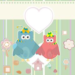 happy owl set, holiday invitation card